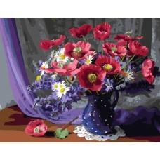 Комплект за рисуване по номера. Цветя в синята ваза – GX 24273