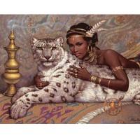 ЕГИПЕТСКА ЦАРИЦА С ЛЕОПАРД - диамантен гоблен 45048