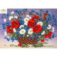 Бродерия с коприна  Кошница с красиви цветя НЛ-3035