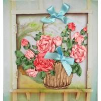 Бродерия с ленти  - Рози в кошница НЛ-4002