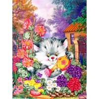 Бродерия с ленти  - Котенце градинар НЛ-4011