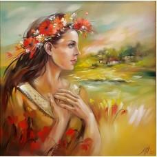 Девойка с полски цветя- Диамантен гоблен LD 303007
