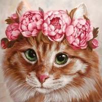 GI 303069  Диамантен гоблен - Котка с цветя