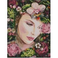 Момиче в цветя - диамантен гоблен LD 0013
