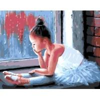 Комплект за рисуване по номера. Малка балерина у прозореца – GX 25790