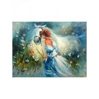 Комплект за рисуване по номера. Дамата с коне – GX 9869