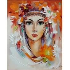 Цветя в косите- Диамантен гоблен LD 405063