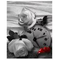 Червена и бяла рози и сърдце - Диамантен гоблен FL 34089
