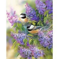 Птички на клонче люляк Диамантен гоблен FL 34074