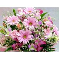 Розови гербери - Диамантен гоблен FL 34085