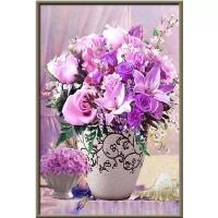 Розови цветя в бялата ваза - Диамантен гоблен FL 34084