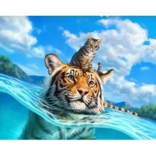GI 304025 ДИАМАНТЕНИ ГОБЛЕНИ-тигр и котенце