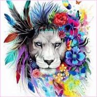 GI 30307 Диамантен гоблен лъв с цветя