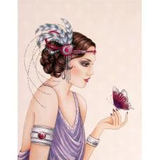 Дама с красиви гривни и пеперуда- диамантен гоблен LD 304023