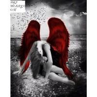 Ангел с червени кръла- диамантен гоблен LD 304060