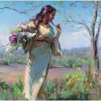 Девойка с пролетни цветя - диамантен гоблен LD 404013