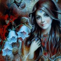 Девойка с охлюви- диамантен гоблен LD 404014