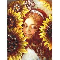 Момиче със слънчогледи - диамантен гоблен LD 304018