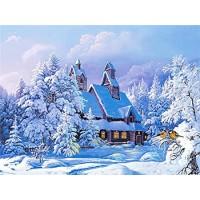 PZ 304098 Диамантен гоблен - Къща в снега