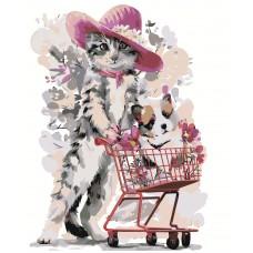 Картина по номера - Котка с количка Z-063