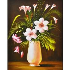 Бели цветя във ваза - Картина по номера CX 3864
