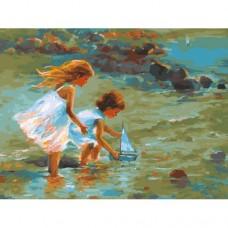 Картина по номера - Деца и лодка ZE 3013