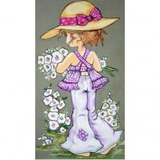 Картина по номера - Момиче с цветя ZE 3044