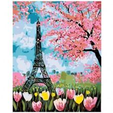Картина по номера - Эйфелова кула в цветя ZE-3140