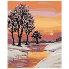 Картина по номера - Река през зимата  ZG-0005