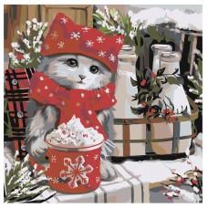 Картина по номера -  Зимна котка ZP-025