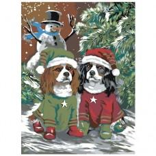 GI 304102 Диамантен гоблен - Зимни кучета