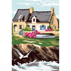 Къща и река - Картина по номера CX 3722