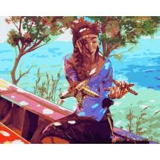 Момиче край морето - Комплект за рисуване по номера GX 40556